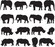Afrikaanse olifant en de witte contour van het rinocerossilhouet Royalty-vrije Stock Fotografie