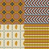 Afrikaanse reeks van 4 naadloze patronen Stock Fotografie