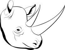 Afrikaanse rinoceros van de beeldverhaal de eenvoudige schets met grote hoornen, vector Stock Foto