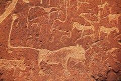 Afrikaanse rotstekening Stock Afbeeldingen