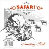 Afrikaanse safariillustratie en etiketten voor de jachtclub Stock Foto