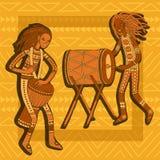 Afrikaanse Slagwerkers Percussiespelers Stammen Muziek vector illustratie