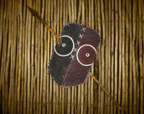 Afrikaanse stammenstrijdersschild en spear Stock Foto's