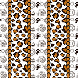 Afrikaanse stijl naadloos met het patroon van de jachtluipaardhuid Royalty-vrije Stock Foto