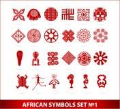 Afrikaanse symbolen geplaatst rode geïsoleerdeo kleur Royalty-vrije Stock Afbeeldingen