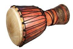 Afrikaanse traditionele trommel op een witte achtergrond Stock Foto