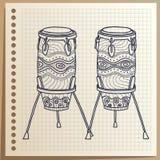 Afrikaanse Trommels Muzikaal instrument percussie Congas vectorillustratie vector illustratie