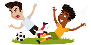 Afrikaanse voetballer die Aziatische tegenstander op voetbalgebied aanvallen royalty-vrije illustratie