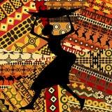 Afrikaanse vrouw op etnische texturenachtergrond stock illustratie