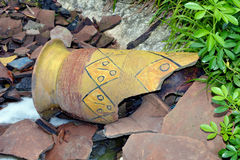 Afrikan style. Antik ,broken,brown handicrafts keramik t Stock Images
