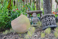 Afrikan style. Antik ,brown handicrafts keramik on african market Stock Photos