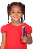 afrikanen crayons flickan little Royaltyfri Bild