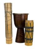 afrikanen drums den exotiska gruppen Royaltyfria Bilder