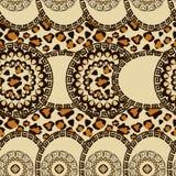Afrikanen utformar seamless med cheetahen flår mönstrar Arkivfoton