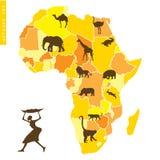 Afrikaner stellte mit Karte und Tieren ein Stockbilder