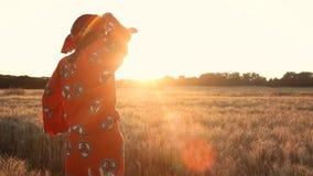 Afrikanerin in der traditionellen Kleidung, die auf einem Gebiet von Ernten bei Sonnenuntergang oder Sonnenaufgang steht stock video