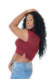Afrikanerin, die im Profil steht Stockbilder