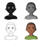 afrikanisch Einzelne Ikone der menschlichen Rasse im Karikaturartvektorsymbolvorrat-Illustrationsnetz stock abbildung