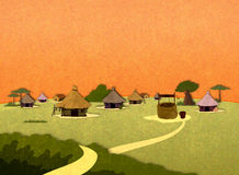 Afrikanische Dorfhäuser Stockfotos