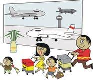 Afrikanische Familienflughafenkarikatur Lizenzfreie Stockbilder