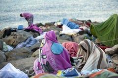 Afrikanische Flüchtlinge blockiert in Italien Stockfoto