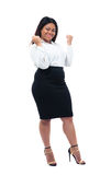 Afrikanische Geschäftsfrau, die ihren Sieger feiert Stockbild