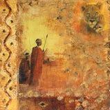 Afrikanische Kämpfer und Löwin Stockbild