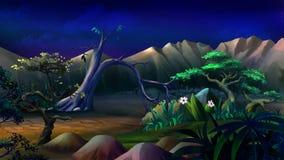 Afrikanische Landschaft in einer Sommer-Nacht Lizenzfreies Stockfoto