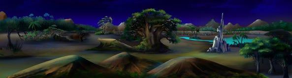 Afrikanische Landschaft in einer Sommer-Nacht Panorama Stockfoto