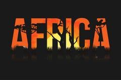 Afrikanische Landschaft mit Bäumen und Sonne Beschriftung Afrika mit Savanne, Grasland, Sonnenuntergang nach innen stock abbildung
