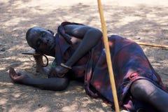 Afrikanische Leute: Älterer Pokot Schäferhund Lizenzfreie Stockfotografie