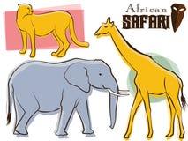 Afrikanische Safari-Tiere Retro- Lizenzfreie Stockbilder