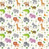 Afrikanische Tier-nahtloses Muster Kindische Tiere der netten Karikatur lizenzfreie abbildung