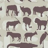 Afrikanische Tier-nahtloses Muster Schattenbild Vektor Lizenzfreie Stockfotografie