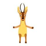 Afrikanische Tierantilope, die auf der Zeichentrickfilm-Figur mit zwei Beinen steht Stockfotografie