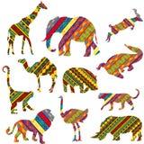 Afrikanische Tiere gebildet von den ethnischen Beschaffenheiten Stockfotos