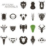 Afrikanische tierische schwarze Ikonen Lizenzfreie Stockfotos
