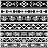 Afrikanische und mexikanische aztekische amerikanische Stammes- Vektorgrenzen, Rahmenmuster Stockbild