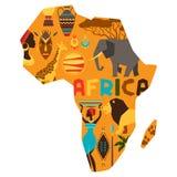 Afrikanischer ethnischer Hintergrund mit Illustration der Karte Stockbilder