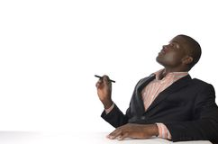 Afrikanischer Geschäftsmann schreibt Freiexemplarraum Stockbild