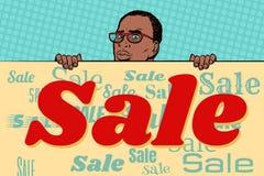 Afrikanischer Geschäftsmannverkaufs-Plakathintergrund Stockbild