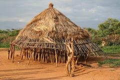 Afrikanischer Hut in Äthiopien stockbilder