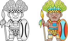 Afrikanischer Krieger, lustige Illustration, Malbuch Lizenzfreie Stockfotos