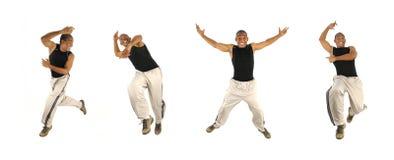 Afrikanischer Mann, der in 4 Haltungen springt Stockbild