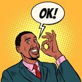 Afrikanischer Manngesch?ftsmann des O.K.S Handzeichen-O.K. Erfolg gut stock abbildung