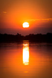 Afrikanischer Sonnenuntergang über dem Okavango-Delta Stockfotografie