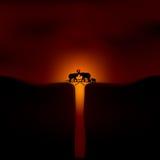 Afrikanischer Sonnenuntergang mit Elefanten Lizenzfreie Stockfotografie