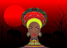 Afrikanischer Stamm kleidet weibliches Zulu, Porträt der netten südafrikanischen Frau Typische Kleidung für Ehefrauen, junges Mäd stock abbildung