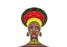 Afrikanischer Stamm kleidet weibliches Zulu, Porträt der netten südafrikanischen Frau Typische Kleidung für Ehefrauen, junges Mäd lizenzfreie abbildung