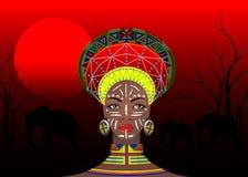 Afrikanischer Stamm kleidet weibliches Zulu, Porträt der netten südafrikanischen Frau Typische Kleidung für Ehefrauen, junges Mäd vektor abbildung
